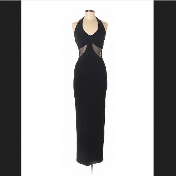 Sabora Dresses Black Halter Maxi Dress With Mesh Cutouts M Poshmark
